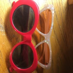 2-Pack Trendy Sunglasses Clout Cat-Eye Red/Pink